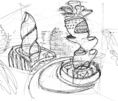 Futuristic Buildings Drawings Futuristic Building Sketch