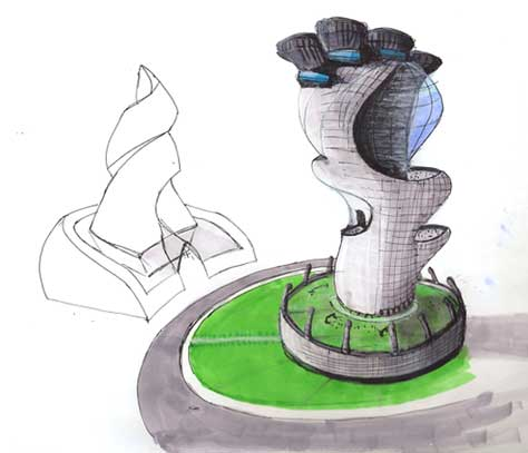 Displaying 20 Gallery Images For Futuristic Buildings Drawings